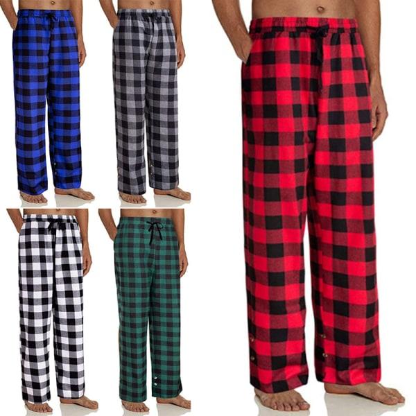 Mens Check Pyjama Pants Bottoms Loungewear Nightwear Trousers Black,M