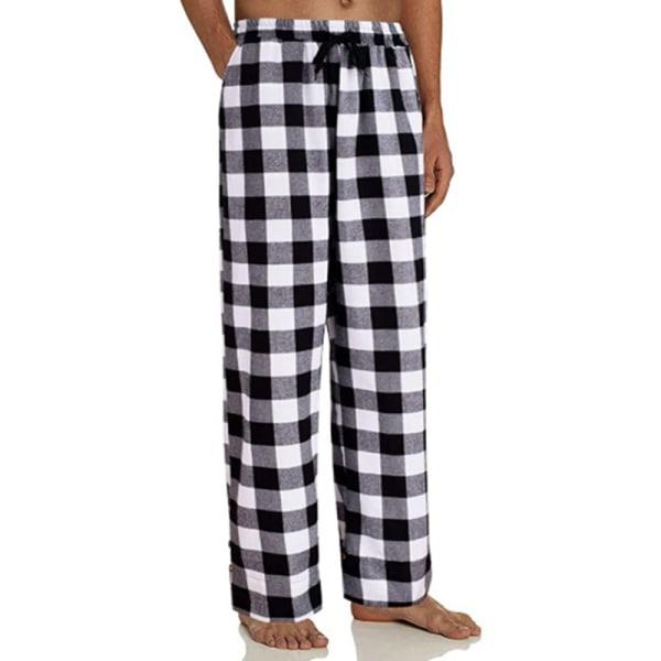 Mens Check Pyjama Pants Bottoms Loungewear Nightwear Trousers Black,L