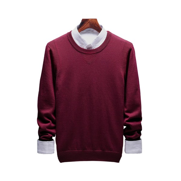 Mens knitted sweater round neck casual long-sleeved pullover top red wine,XXL