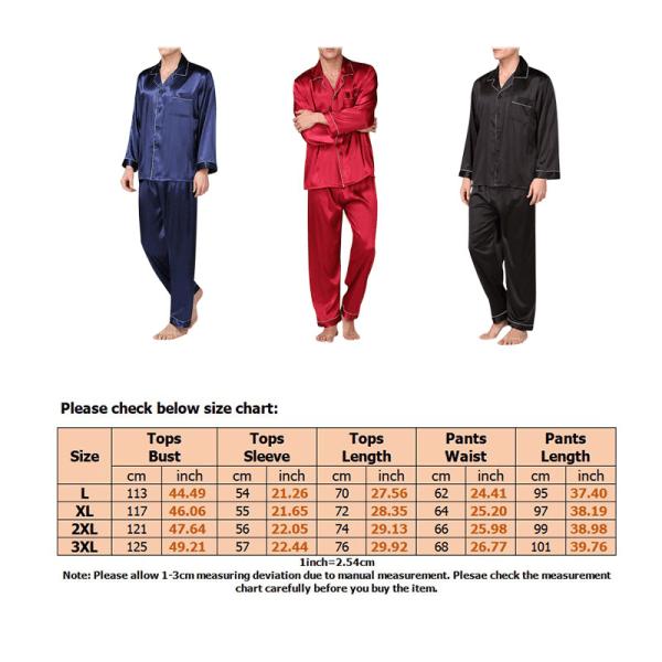 Mens Silk Satin Pajamas Sleepwear Set Boy Nightwear Loungewear Red,XXL