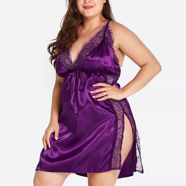 Plus Size Women's Lace Transparent Lingerie Sexy Pajama Dress Purple,S