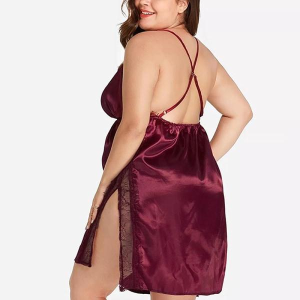 Plus Size Women's Lace Transparent Lingerie Sexy Pajama Dress Red,XL