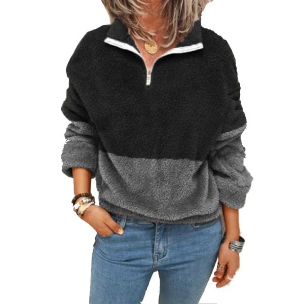 Plus Size Women's Wool Warm Hooded Jacket Coat Top Black Gray,L