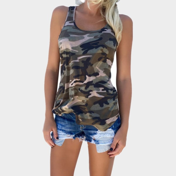 Plus Size Women Summer Vest Sleeveless Camouflage Camisole Shirt ArmyGreen,4XL
