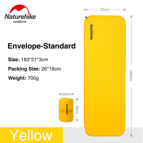 Self-inflating Camping Mattress Air Mat Moisture-proof Pad Yellow Envelope Standard