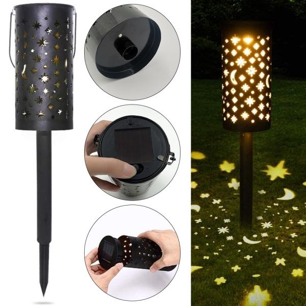 Solar Powered LED Garden Path Light Hollow Out  Waterproof Light Black
