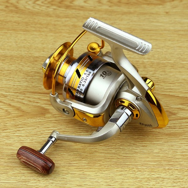 Spinning Fishing Reel Metal Spool 12BB 5.5:1 Gear Ratio Folding Golden,4000