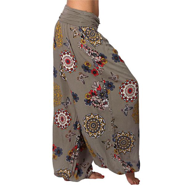 Super Value-Women-Pants&Yoga&Trousers-Baggy Harem Leggings&Boho Khaki,L