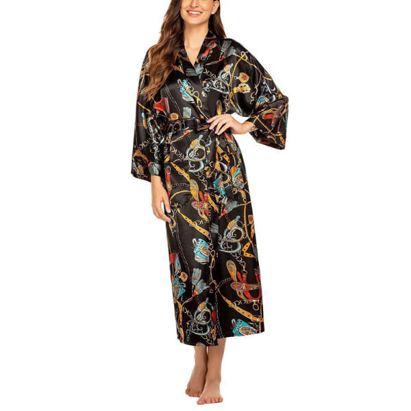 Super Value-Women-Sleepwear&Dressing&Kimono-Floral&Satin Silk Black Golden,2XL