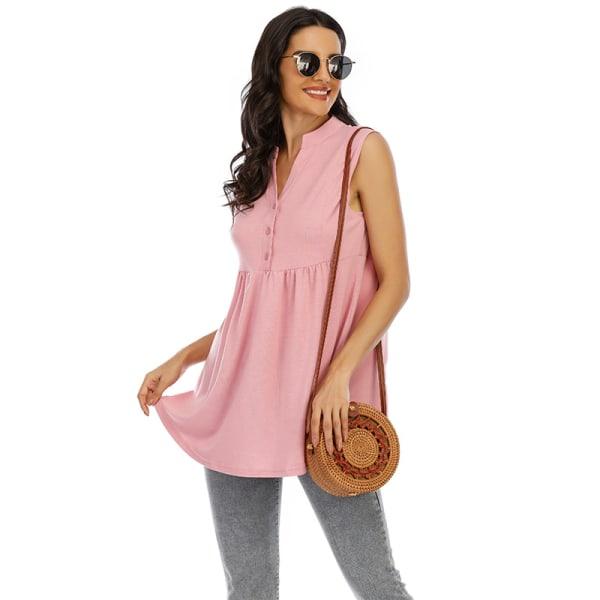 Super Value-Women-Vest&Tee&Blouse&Pullover-V Neck&Sleeveless Pink,S