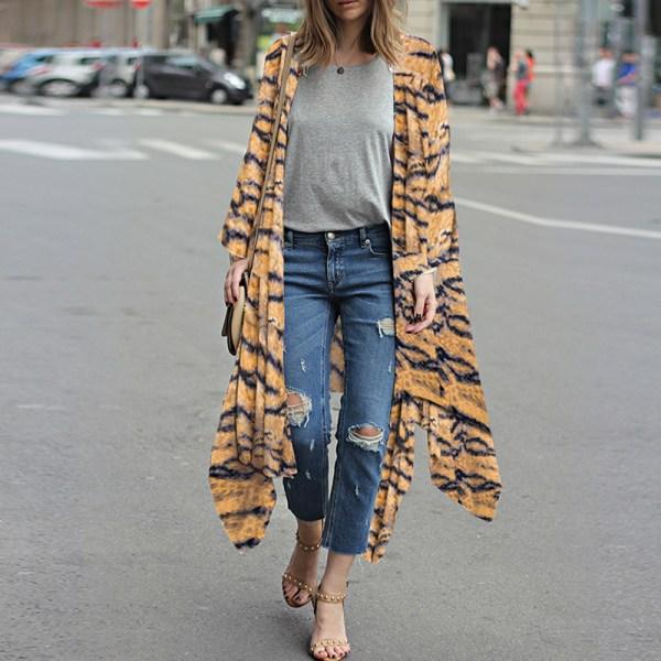 SuperValue-Women-Tops&Blouse&Kimono&Cardigan-Floral&Boho&Chiffon Yellow,XXL