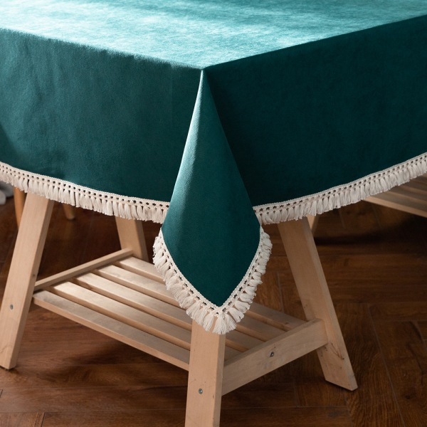 Tablecloth Cotton Linen Square Rectangle Dining Table Cover Green 140x260cm