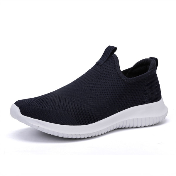 Unisex adult breathable wear resistant round toe sneakers Black,45