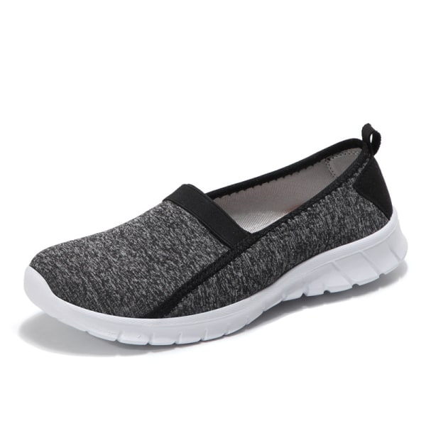 Unisex adult casual flat bottom lazy shoes walking sneakers Black,38