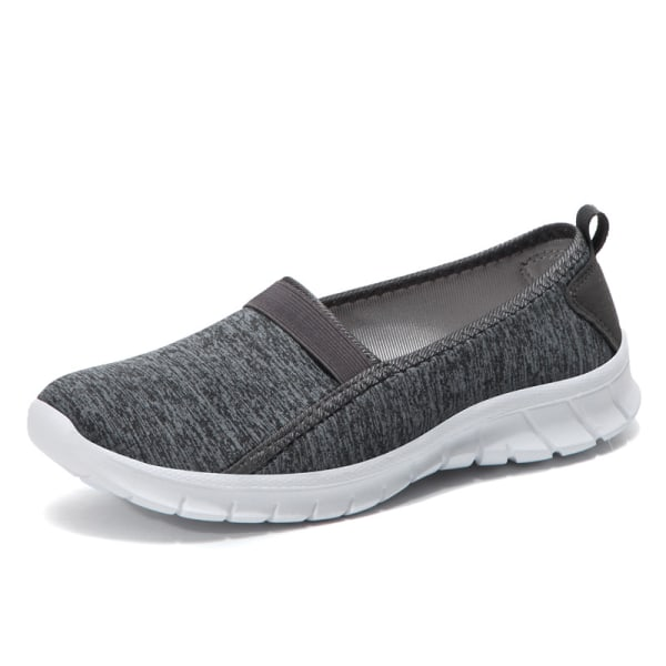 Unisex adult casual flat bottom lazy shoes walking sneakers Dark gray,39