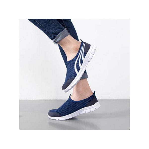Unisex adult casual flat non slip loafers sneakers Navy Blue,41