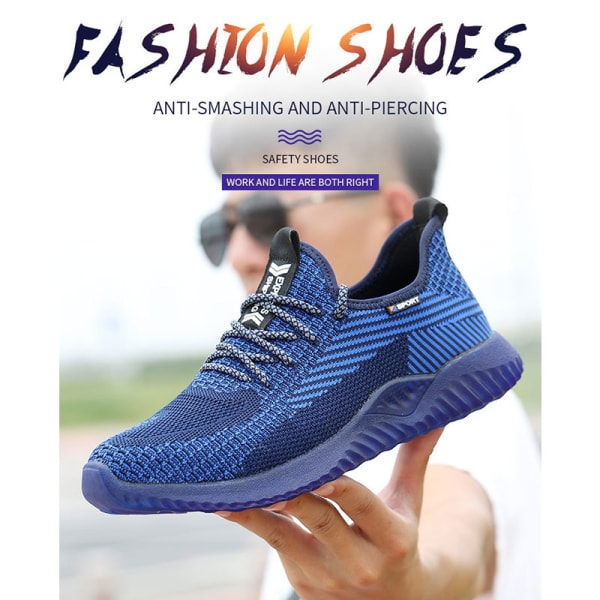 Unisex safety shoes fashion sports shoes running shoes Blue,42