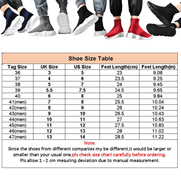 Unisex Sock Sneakers High Top Athletic Running Casual Shoes Black,44