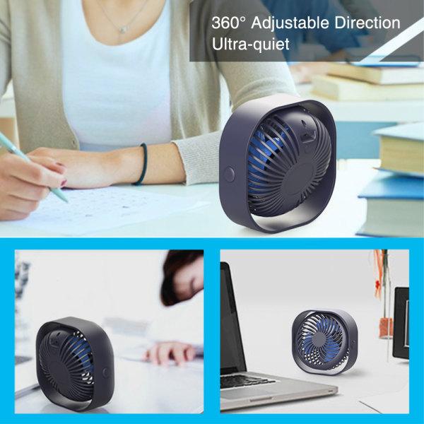 USB Rechargeable Desktop Fan Portable Mini Cooler 3 Speeds black