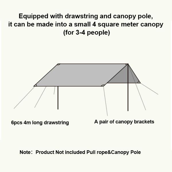 Waterproof Tent Mat Camping Picnic Pad Awning Sunshade Shelter Green