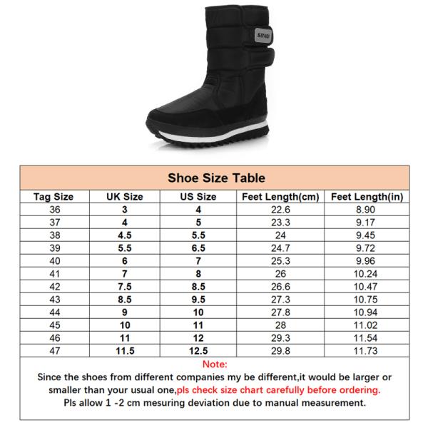 Women and Men Waterproof Plush Lined Winter Snow Casual Booties Black,45