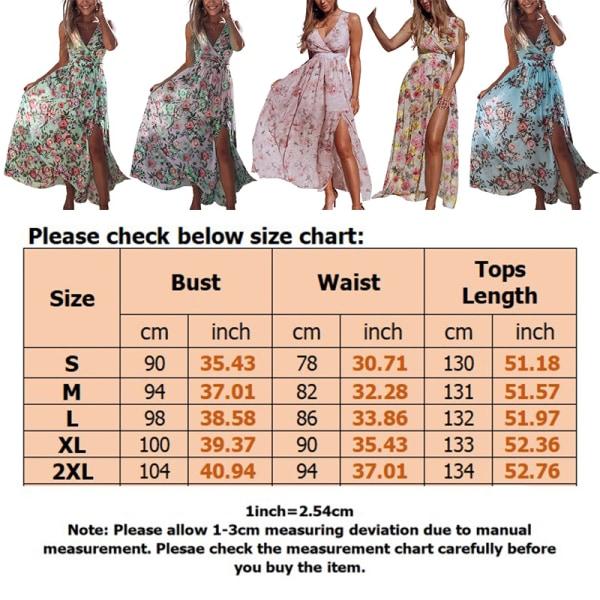Women Beach Floral Bohemian Chiffon Sleeveless Summer Long Dress Pink,S