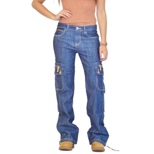 Women Bell-bottom Denim Jeans Flared Trousers Wide Leg Pants Navy Blue,S