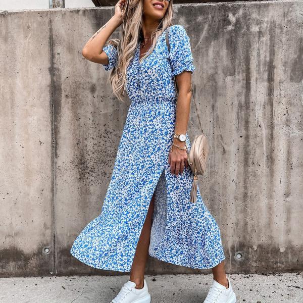Women Bohemian Short Sleeve Dress Elastic Waist A-Line Skirt Blue,L