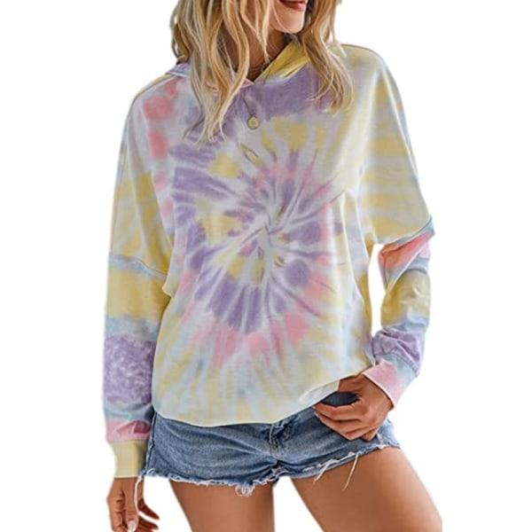 Women Casual Dye Hooded Sweatshirt Long Sleeve Loose Top Purple,M