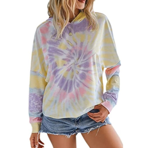 Women Casual Dye Hooded Sweatshirt Long Sleeve Loose Top Purple,S