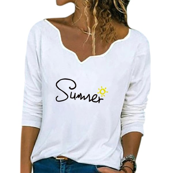 Women Casual Loose V-neck Printed Long Sleeve T-Shirt Top White letters,3XL