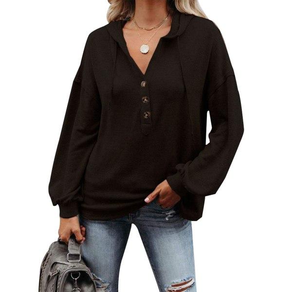 Women Casual Solid Color Hooded Pullover Sweatshirt Ladies Top black,5XL