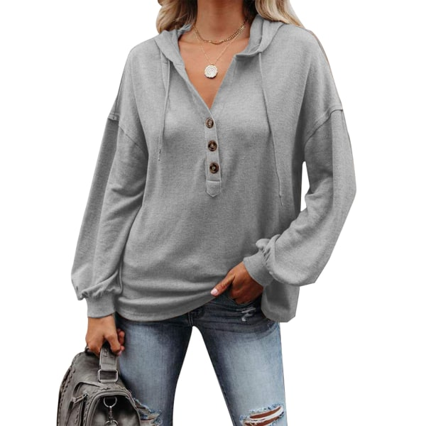 Women Casual Solid Color Hooded Pullover Sweatshirt Ladies Top Gray,L