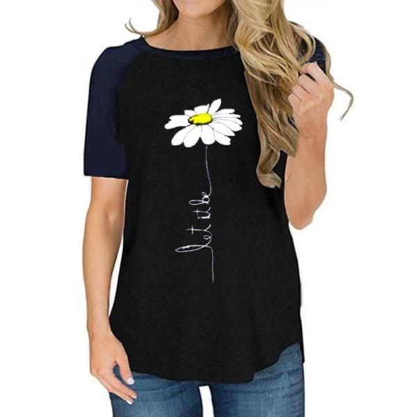 Women Daisy Print Short Sleeve Patchwork Top Loose Sweater Black,M
