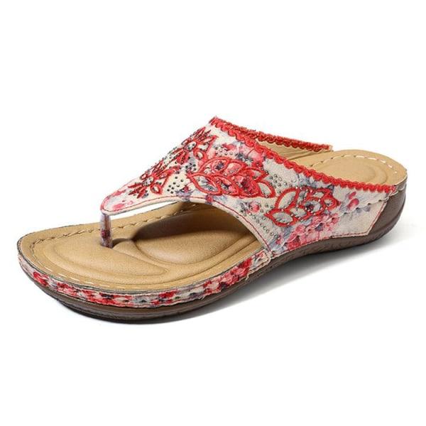 Women Flip-toe Electric Embroidered Sandals Summer Beach Slipper Red,40