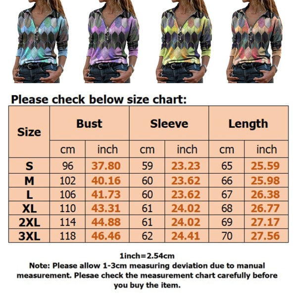 Women Geometric Printed T-Shirt Top Long Sleeve Casual Sweater Blue,S