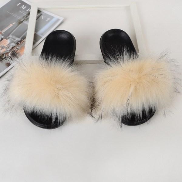Women Girls Fur Furry Slippers Open Toe Parent-child Sandals Beige,33.5