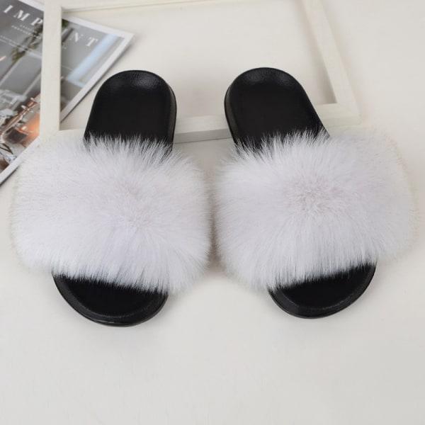 Women Girls Fur Furry Slippers Open Toe Parent-child Sandals Cream,31.5