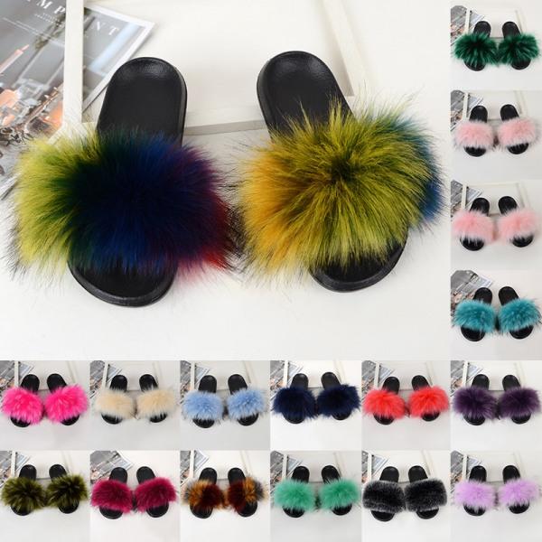 Women Girls Fur Furry Slippers Open Toe Parent-child Sandals Light Pink,29.5