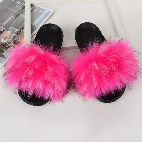 Women Girls Fur Furry Slippers Open Toe Parent-child Sandals Rose Pink,26.5