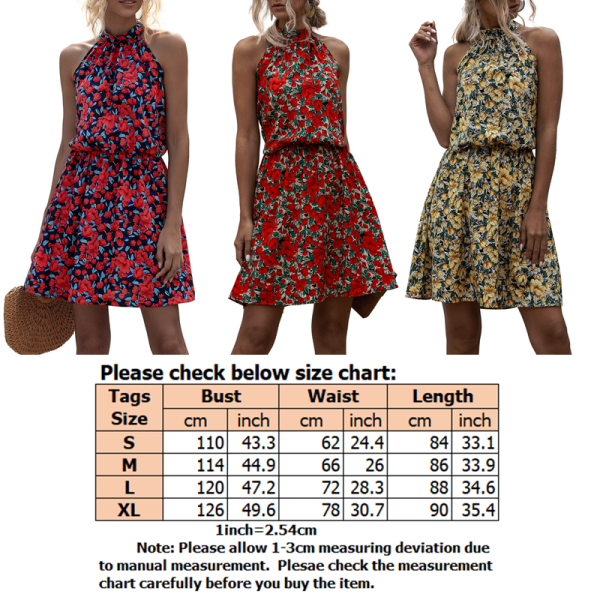 Women Halter Sleeveless Floral Print Boho Beach Dress Print yellow,M