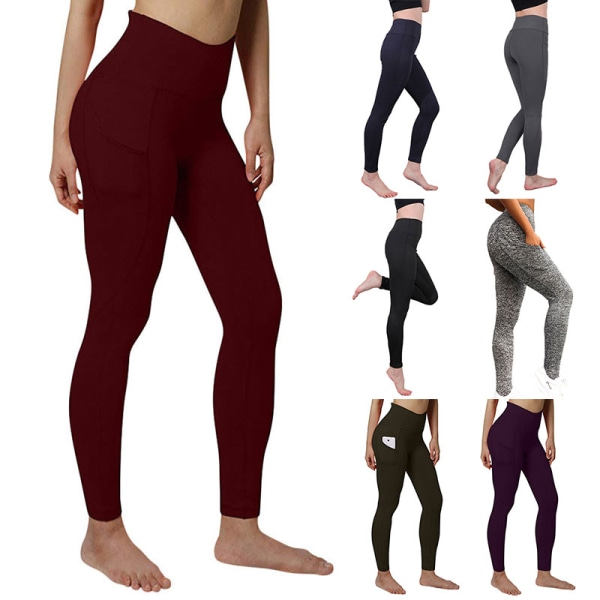 Women high waist hip-lifting yoga pants sports fitness pants Blue,XL