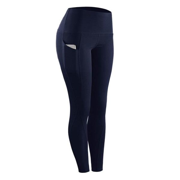 Women high waist hip-lifting yoga pants sports fitness pants Navy Blue,XXL