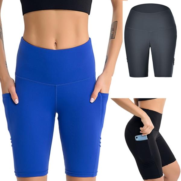Women High Waist Workout Yoga Shorts Pocket Sports Fitness Pants Black