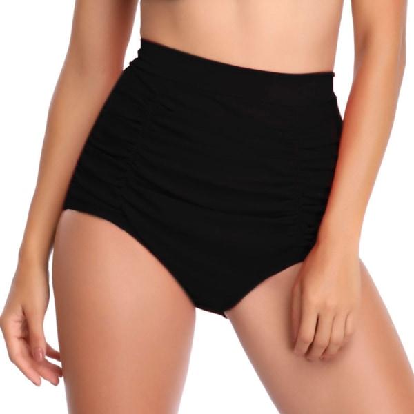 Women High Waist Wrinkle Bikini Tankini Bottom Swimming Briefs Black,M