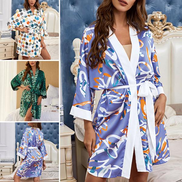 Women Kimono Robes Cardigan Sleepgown Waistband Pajamas Lace Up Black,M