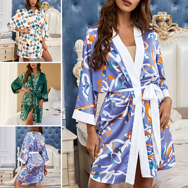 Women Kimono Robes Cardigan Sleepgown Waistband Pajamas Lace Up Yellow,L