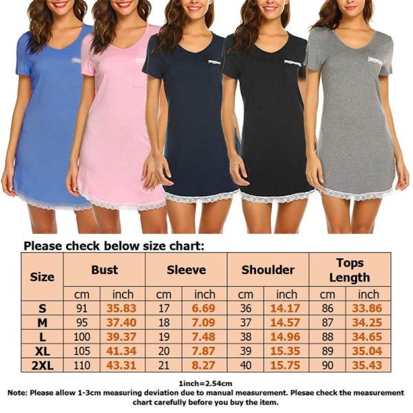 Women Lace Nightdress Short Sleeve Mini Dress Sleepwear Pajamas Black,S