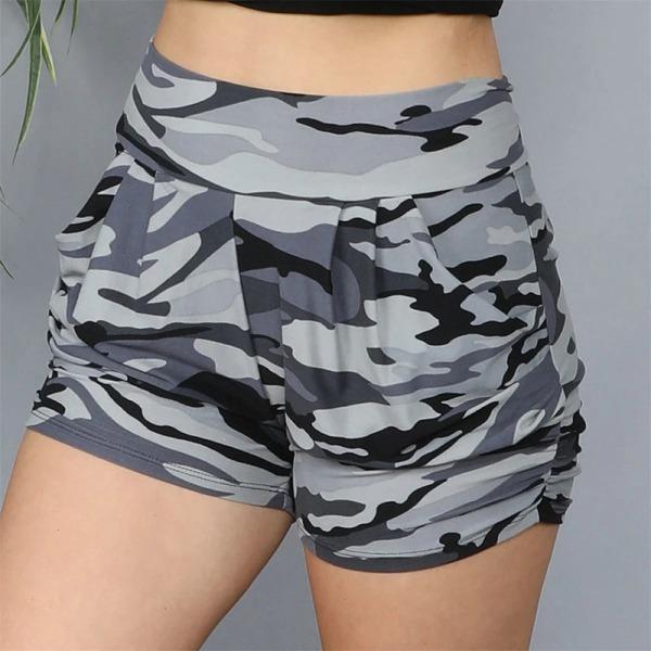 Women Leopard Shorts Joggers Camo Beach Pant Casual Hot Pants Camo Black,XL