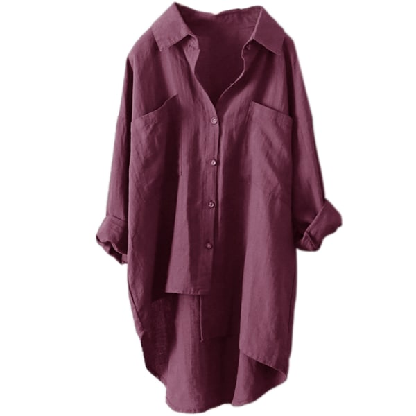 Women Linen Loose Top Ladies Long Sleeve Casual Pullover T-shirt red,S